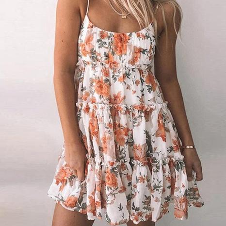 Women's summer sexy print suspender short cake dress NHWA352741's discount tags