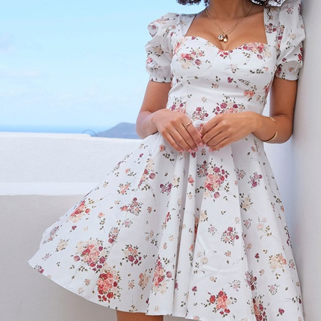 Summer women's sexy low-cut halter floral big swing dress NHWA352740's discount tags