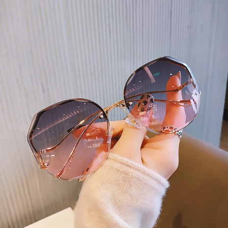 Korean bent-leg frameless cut-edge gradient sunglasses  NHKD346380's discount tags