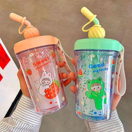 Paja de moda que mezcla la taza de plástico de doble capa al por mayor NHtn346464's discount tags