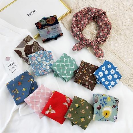 bufanda cuadrada pequeña de algodón y lino con estampado floral de moda NHMN346532's discount tags