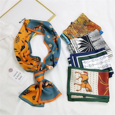 wholesale Bufanda de seda larga y fina con impresión a doble cara coreana NHMN346535's discount tags