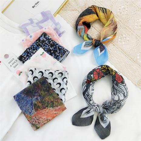 bufanda de seda pequeña de algodón y lino con estampado de moda NHMN346536's discount tags
