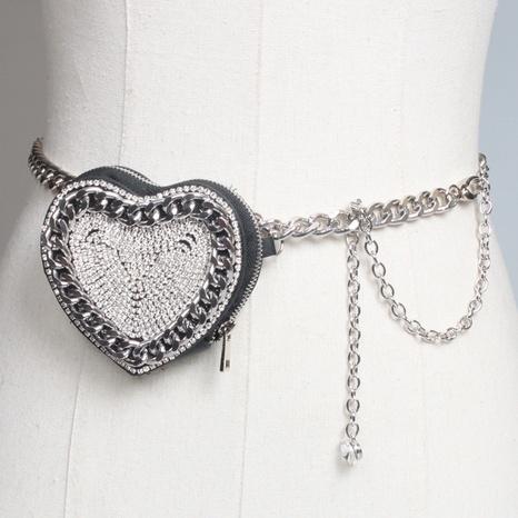 mini bolso de la cintura de la cadena de la cintura del corazón del diamante de imitación de la moda NHJSR346542's discount tags