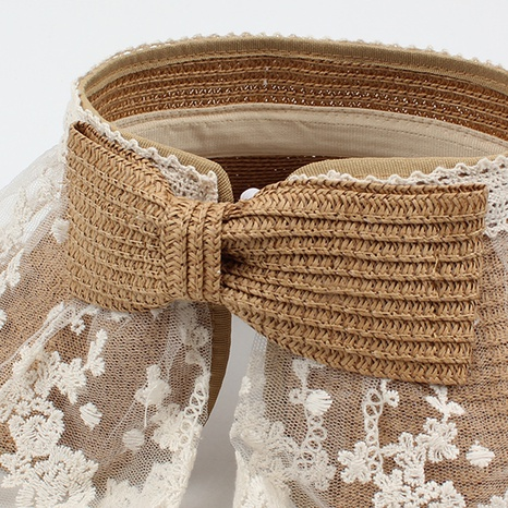 Fashion net yarn empty top big brimmed sunshade straw hat wholesale NHXO346319's discount tags
