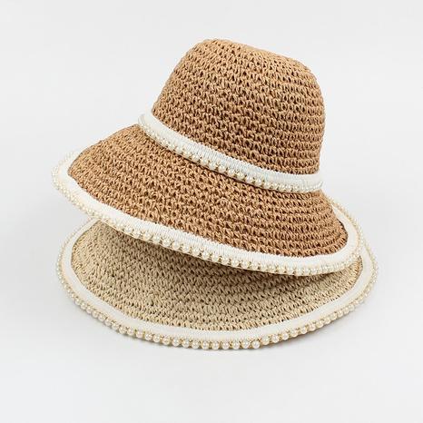 Fashion sunshade sunscreen hand-woven foldable pearl straw hat NHXO346317's discount tags