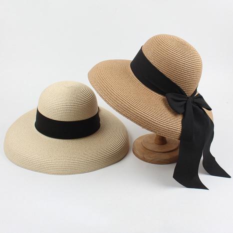 Fashion bow sunshade sunscreen foldable big brim straw hat NHXO346314's discount tags