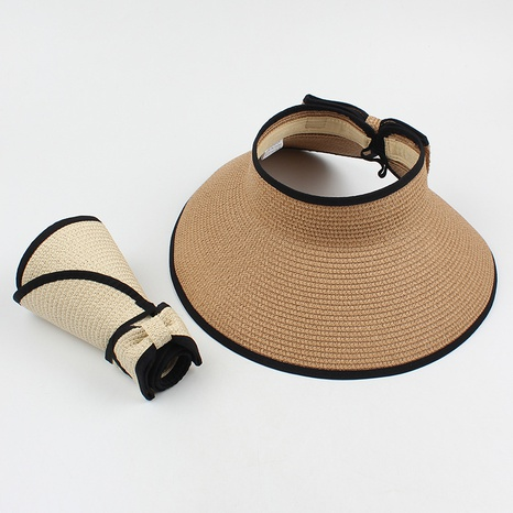 Fashion sunshade sunscreen empty top bow straw hat NHXO346313's discount tags