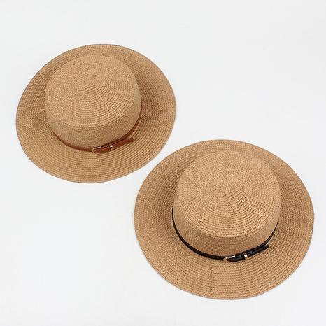 Fashion sunshade sunscreen short brim flat-top straw hat wholesale NHXO346311's discount tags