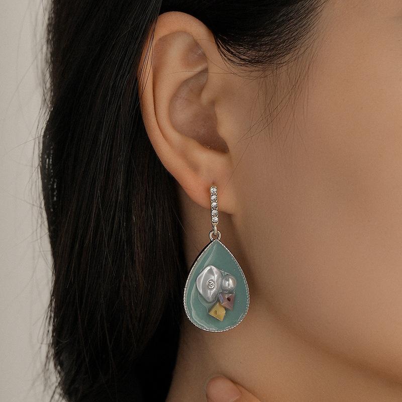 Fashion dropshaped word diamondstudded pearl earrings  NHQC349198