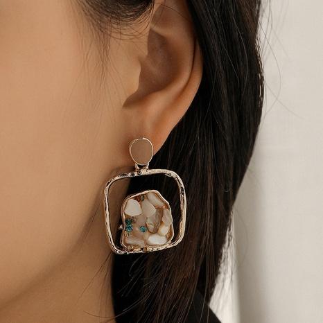 Pendientes de diamantes de grava huecos cuadrados retro NHQC349196's discount tags