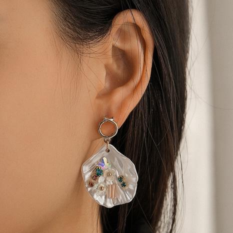 Pendientes bohemios de perlas de diamantes de color concha en forma de abanico NHQC349195's discount tags