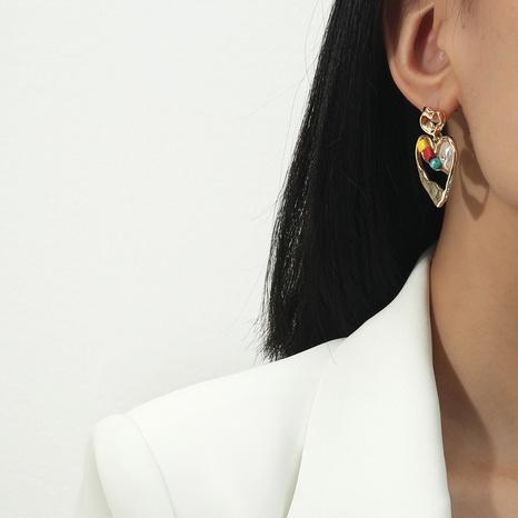Pendientes coreanos del amor de la grava de la perla pendientes del corazón del color del caramelo NHQC349192's discount tags