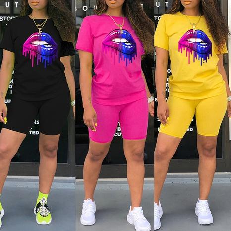 Farbe Big Mouth Druck Rundhalsausschnitt T-Shirt Shorts zweiteilig NHZN347064's discount tags