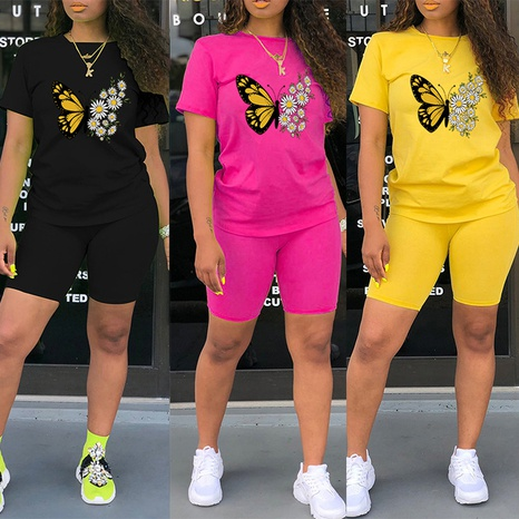 Nähen Gänseblümchen Schmetterling Druck Rundhalsausschnitt T-Shirt Shorts zweiteilig NHZN347062's discount tags