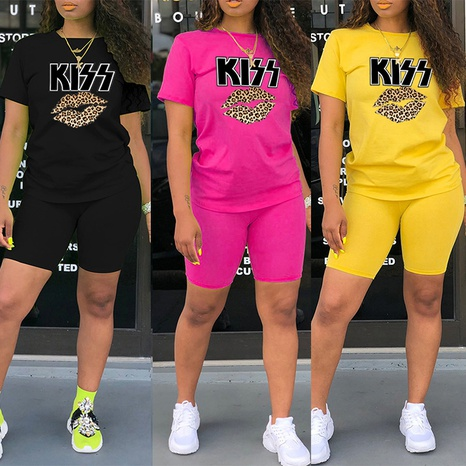 Lippen mit Leopardenmuster, Buchstabenmuster, Rundhalsausschnitt, T-Shirt-Shorts, zweiteilig NHZN347059's discount tags