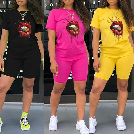 Lippen drucken Rundhals-T-Shirt Shorts zweiteilig NHZN347058's discount tags