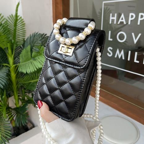 Mode rhombisch geprägte Perlenkette Messenger Handytasche NHTG346959's discount tags