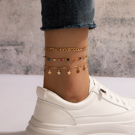 Bohemian beach style color love star tassel simple chain 3-layer anklet NHGY347580's discount tags