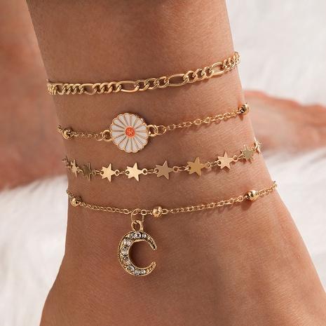 simple bohemian beach style daisy diamond moon star anklet 4-piece set NHGY347577's discount tags
