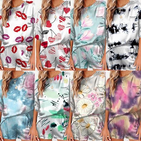 Rundhals-T-Shirt Shorts bedruckt Eis Seide dünnen Home Service Anzug NHUO347549's discount tags