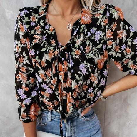 Mode V-Ausschnitt Blumen Schnür-Faltenhemd NHUO347541's discount tags