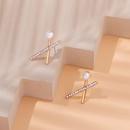 Fashion geometric pearl rhinestone alloy earrings wholesale NHWB346989