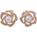 Fashion rose flower pearl rhinestone alloy earrings wholesale NHWB347033
