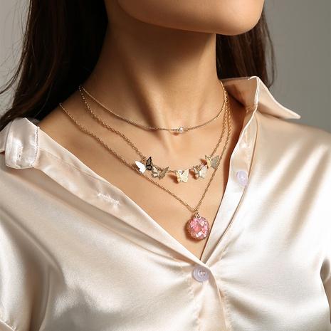 Mode Pailletten Schmetterling speziell geformte Naturstein mehrschichtige Halskette NHAN347119's discount tags