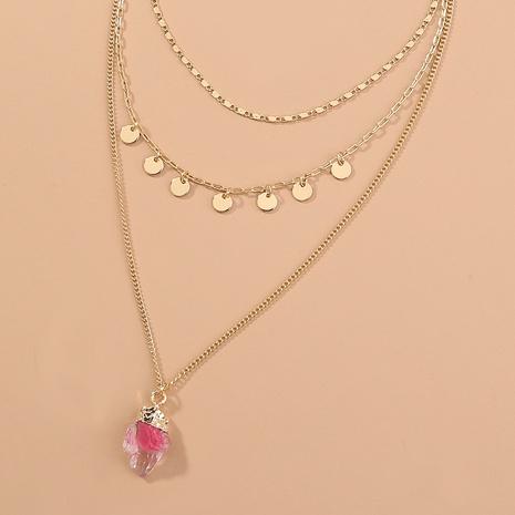 Mode Metall Scheibe Quaste Rosa Imitation Naturstein Anhänger Mehrschicht Halskette NHAN347141's discount tags