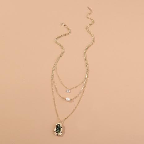 Mode Geometrische Naturstein Anhänger mehrschichtige Halskette NHAN347144's discount tags