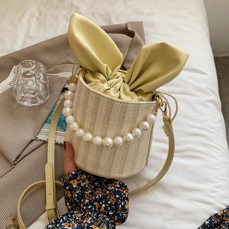 Sac à bandoulière en paille tissée à la mode avec chaîne de perles en gros NHLH347173's discount tags