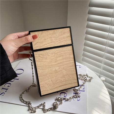 Sac bandoulière à bandoulière en chaîne de grain de bois de mode en gros NHLH347175's discount tags