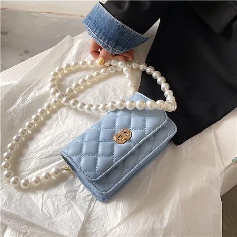 sac de messager de fil de broderie de losange de chaîne de perle de mode NHLH347217's discount tags