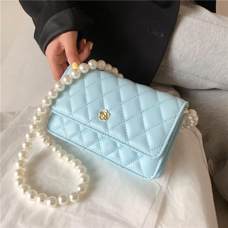 sac à bandoulière simple en chaîne de perles à motif losanges de couleur unie NHLH347218's discount tags
