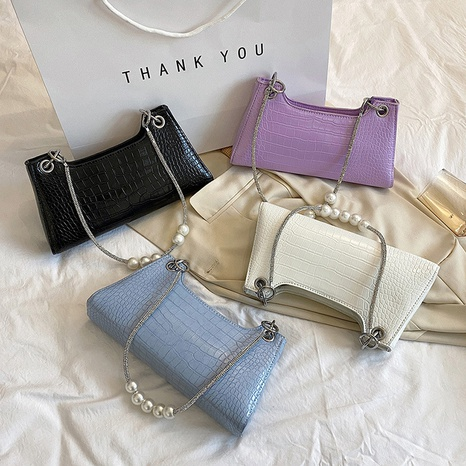 sac sous les aisselles de couleur unie avec chaîne de perles de mode NHLH347231's discount tags