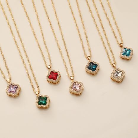 Mode vierblättriges Kleeblatt Kupfer eingelegte Zirkon Halskette Großhandel NHBW347282's discount tags