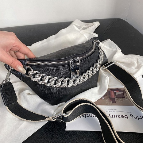 fashion diamond-studded thick chain litchi pattern chest bag NHTG347287's discount tags