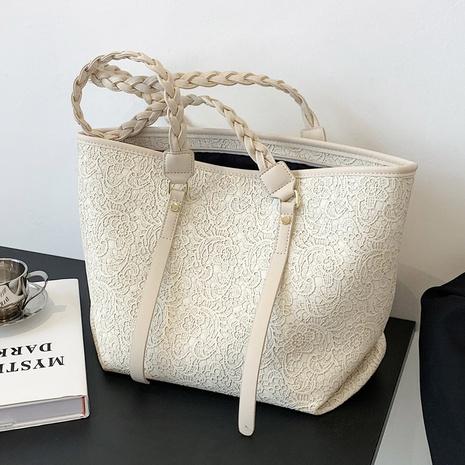 sac fourre-tout simple à poignée tressée en relief NHTG347303's discount tags