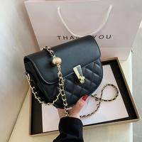 fashion splicing chain solid color shoulder messenger saddle bag NHTG347306