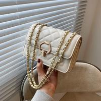 fashion splicing chain geometric metal buckle large-capacity messenger bag  NHTG347307