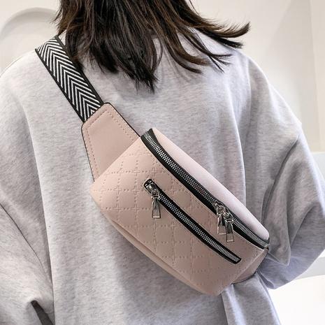 bolso de la cintura del hilo bordado rombo de la cremallera doble de la moda NHTG347333's discount tags