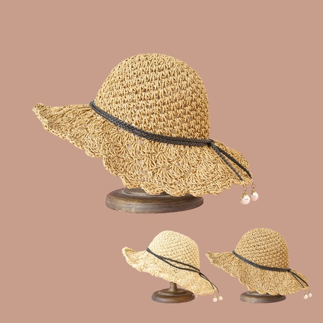 Korean pearl lace sunshade sunscreen straw hat NHTQ347350's discount tags