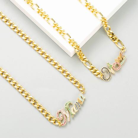Mode Mama Brief Kupfer eingelegt Zirkon Halskette Großhandel NHLN347385's discount tags