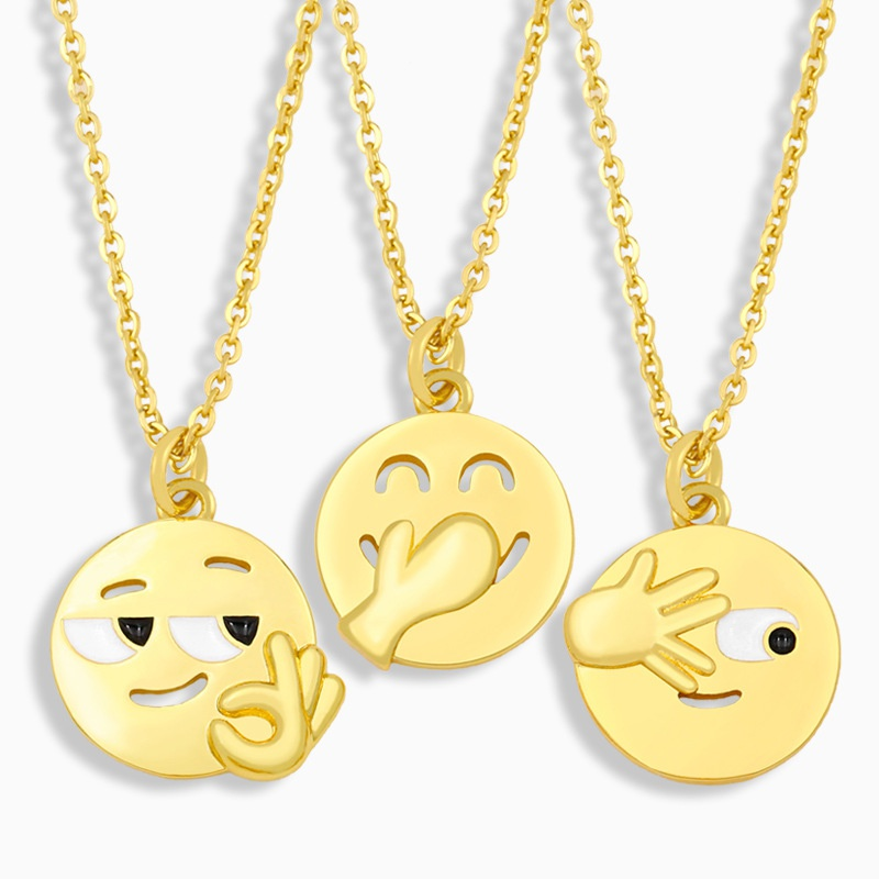 Fashion creative funny expression copper necklace wholesale NHAS347406