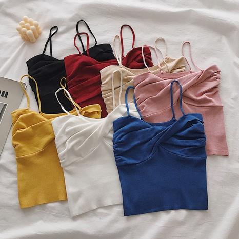 einfarbige ärmellose Strickweste mit kurzen Hosenträgern NHZN347508's discount tags