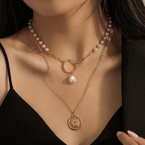 Collar retro con colgante de perlas y monedas de doble capa NHQC349200's discount tags