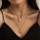 Retro double layer coin pearl pendant neckalce NHQC349200