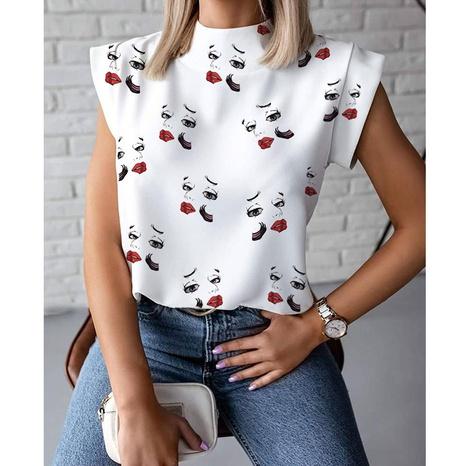 einfaches ärmelloses Hemd mit Stehkragen und Lippendruck NHJG347494's discount tags