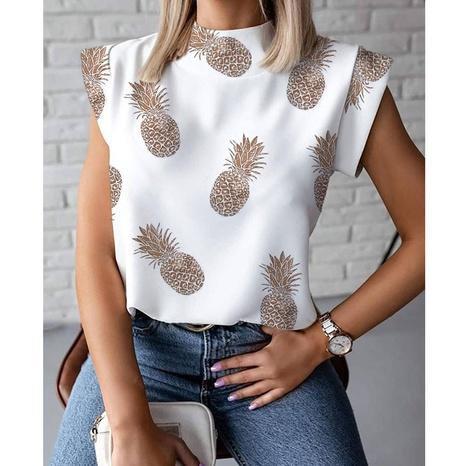 einfaches ärmelloses Hemd mit Ananasmuster und Stehkragen NHJG347493's discount tags